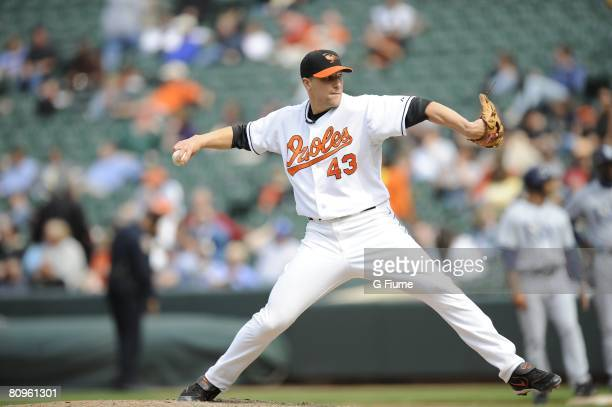 Jim Johnson of the Baltimore Orioles pitches against the Tampa Bay Rays on May 1 2008 at Camden Yards in Baltimore Maryland