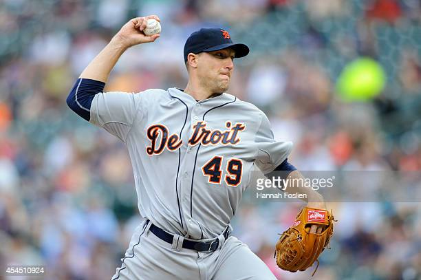 Jim Johnson of the Detroit Tigers delivers a pitch against the Minnesota Twins during the game on August 24 2014 at Target Field in Minneapolis...