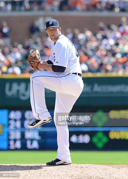 Jim Johnson of the Detroit Tigers pitches during the game against the Seattle Mariners at Comerica Park on August 17 2014 in Detroit Michigan The...