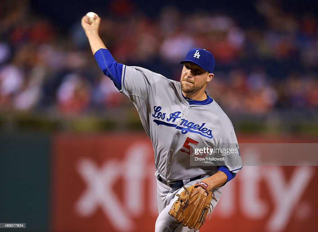 Jim Johnson #54 of the Los Angeles Dodgers delivers a pitch in the eighth inning against the Philadelphia Phillies at Citizens Bank Park on August 5, 2015 in Philadelphia, Pennsylvania. The Dodgers won 4-3.
