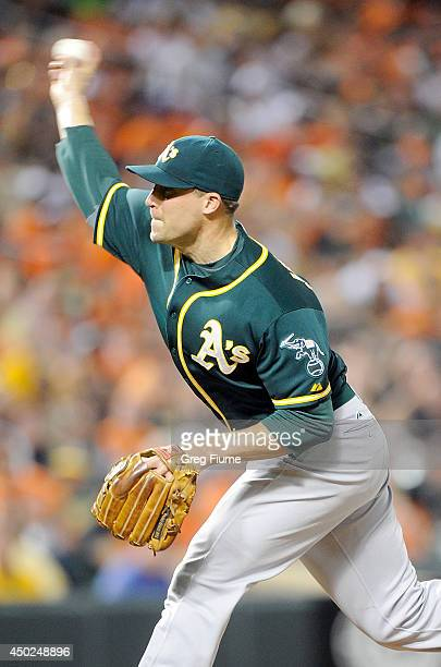 Jim Johnson of the Oakland Athletics pitches in the sixth inning against the Baltimore Orioles at Oriole Park at Camden Yards on June 7 2014 in...