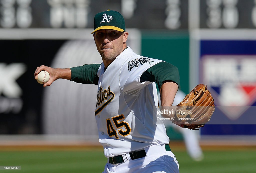 Jim Johnson #45 of the Oaklandn Athletics against the Seattle Mariners in the ninth inning at O.co Coliseum on April 6, 2014 in Oakland, California. The Athletics won the game 6-3.