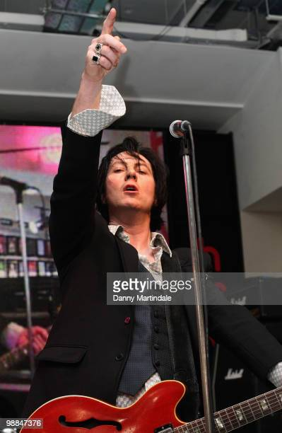 Jim Jones Revue performs at launch of The MOJO Honours List at HMV Oxford Street on May 4 2010 in London England