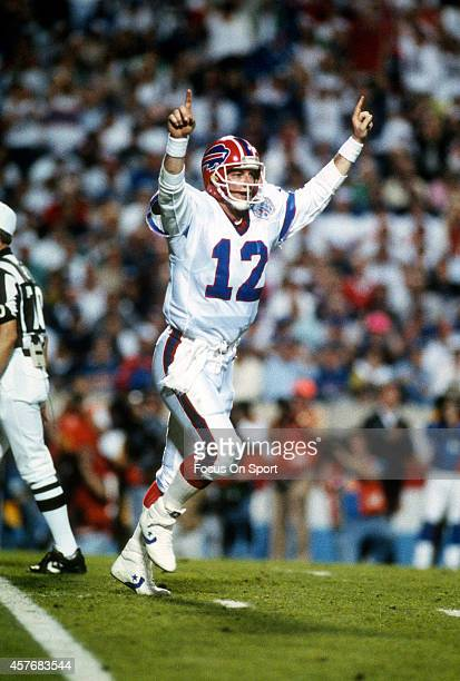 Jim Kelly of the Buffalo Bills celebrates after they scored a touchdown against the New York Giants during Super Bowl XXV January 27 1991 at Tampa...