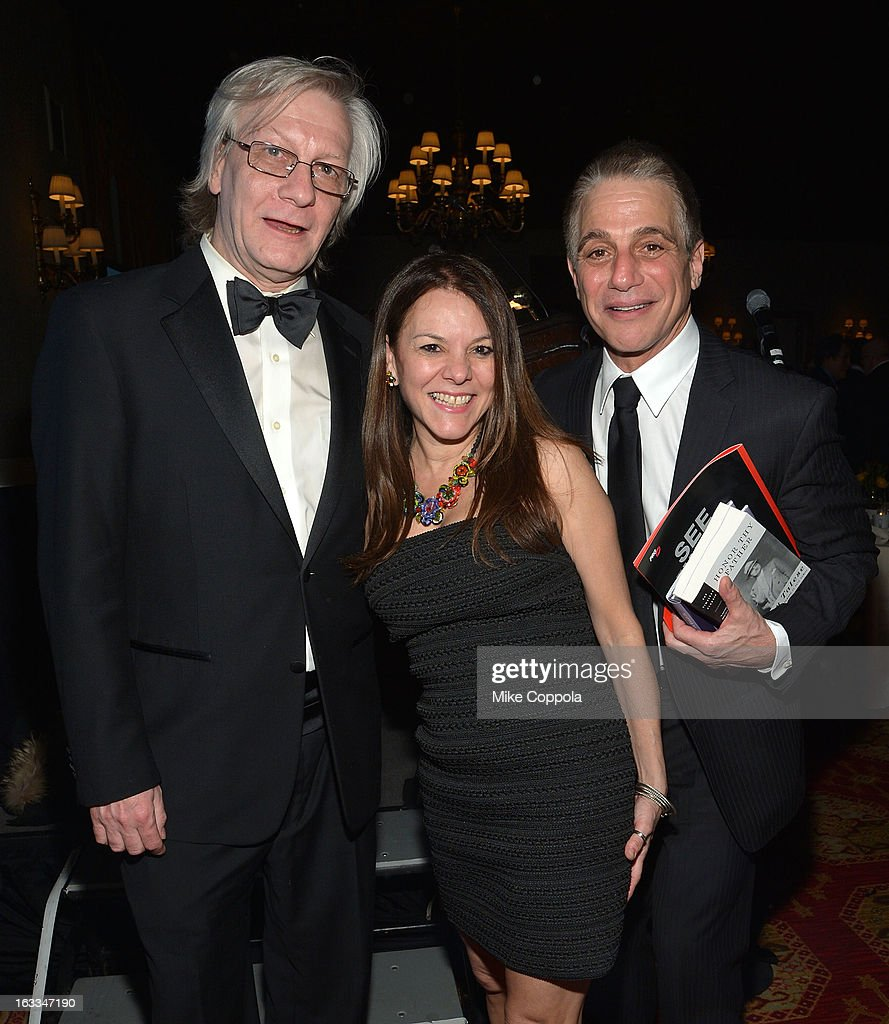 Jim Kerr, Dona Hettinger, and Tony Danza pose for a picture at the Table 4 Writers Foundation 1st Annual Awards Gala on March 7, 2013 in New York City.