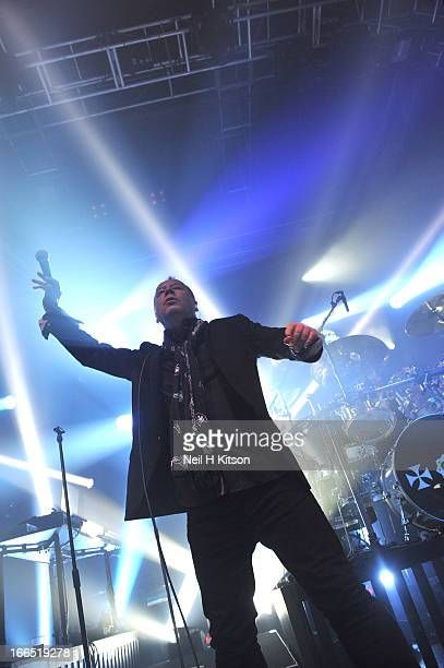 Jim Kerr of Simple Minds perform on stage in concert at 02 academy on April 13 2013 in Leeds England