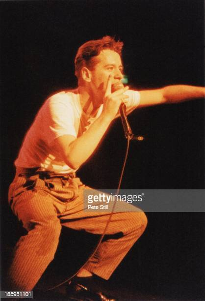 Jim Kerr of Simple Minds performs on stage at Hammersmith Odeon on May 16th 1984 in London England