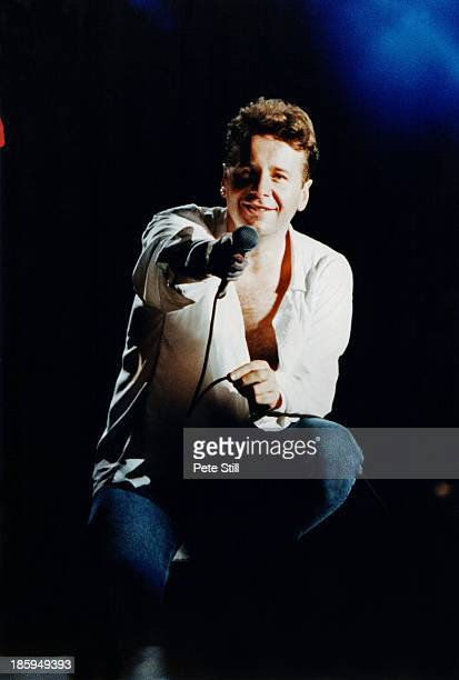 Jim Kerr of Simple Minds performs on stage at Milton Keynes Bowl on August 24th 1991 in Buckinghamshire England Photo by Peter Still/Redferns
