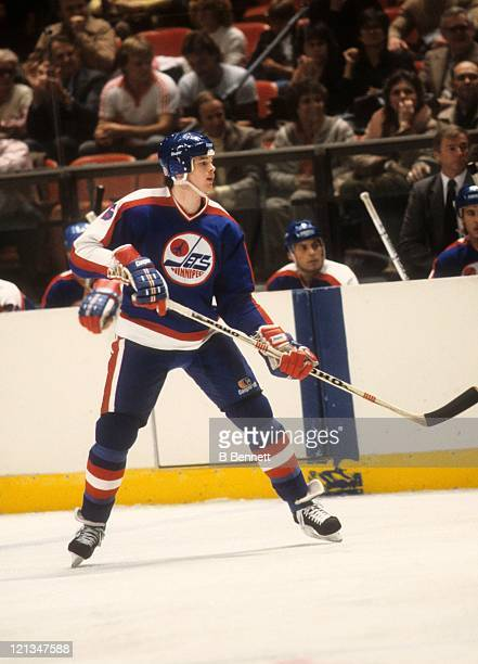 Jim Kyte of the Winnipeg Jets skates on the ice during an NHL game circa 1985