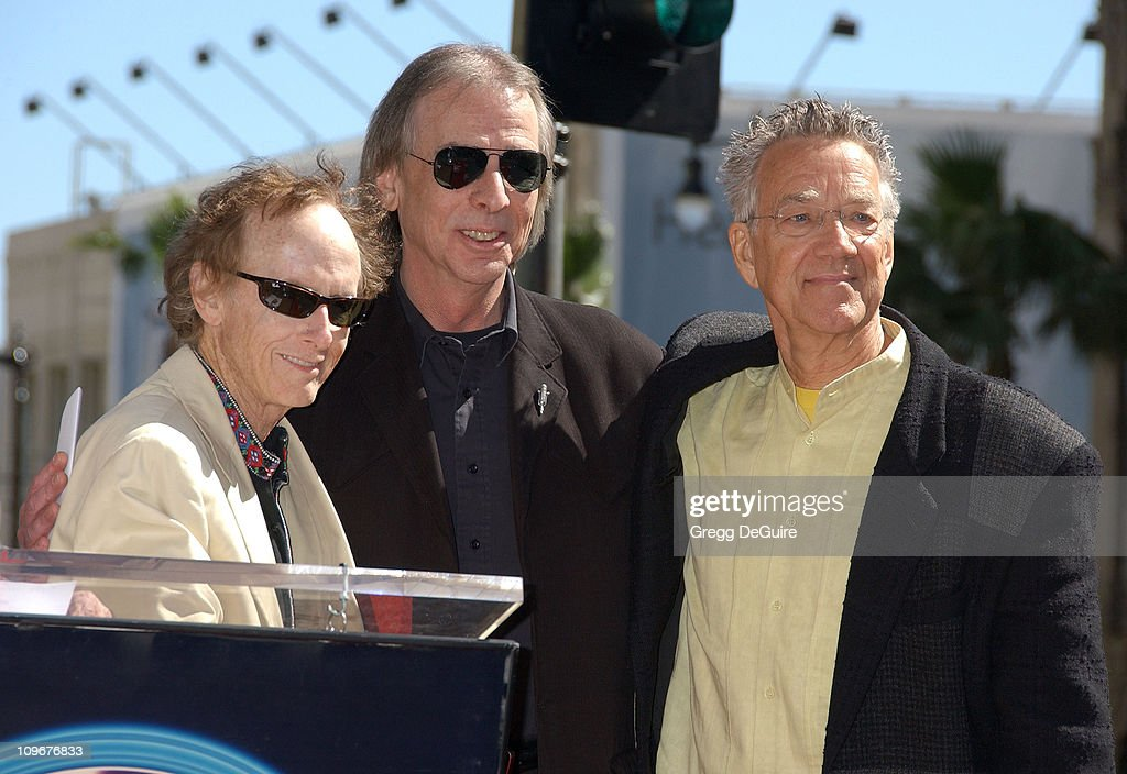 Jim Ladd, KLOS DJ (center), with Robby Krieger and Ray Manzarek of The Doors
