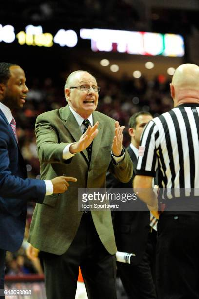 Jim Larrañaga head coach Miami Hurricanes appeals to the referee on a call favoring the Florida State University Seminoles in an Atlantic Coast...