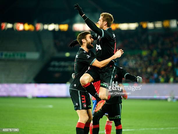 Jim Larsen of FC Midtjylland celebrate after his 10 goal during the Danish Superliga match between FC Midtjylland and FC Vestsjalland at MCH Arena on...