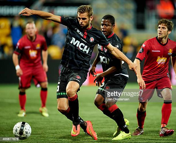 Jim Larsen of FC Midtjylland compete for the ball during the Danish Superliga match between FC Nordsjalland and FC Midtjylland at Farum Park on...
