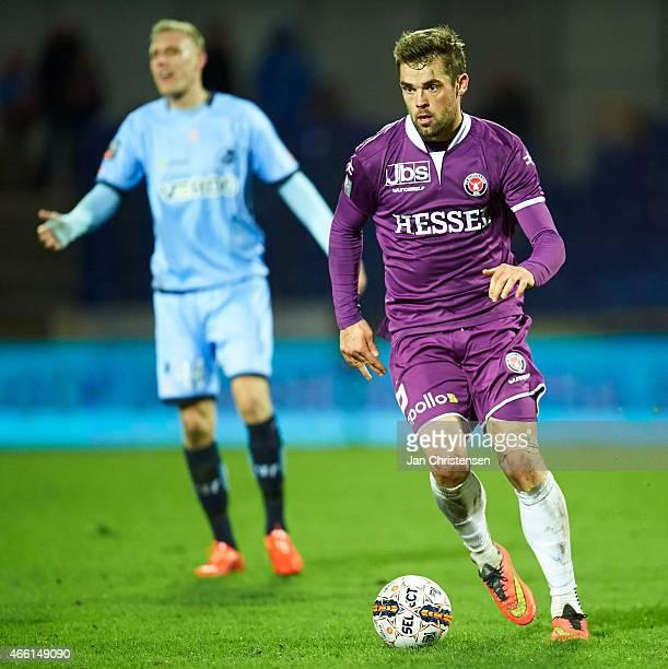 Jim Larsen of FC Midtjylland controls the ball during the Danish Alka Superliga match between Randers FC and FC Midtjylland at AutoC Park Randers on...