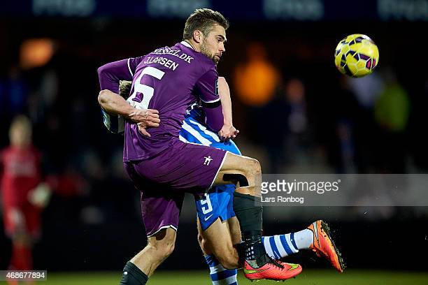 Jim Larsen of FC Midtjylland in action during the Danish Alka Superliga match between Esbejrg fb and FC Midtjylland at Blue Water Arena on April 5...