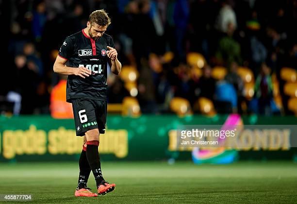 Jim Larsen of FC Midtjylland looks dejected after the Danish Superliga match between FC Nordsjalland and FC Midtjylland at Farum Park on September 21...