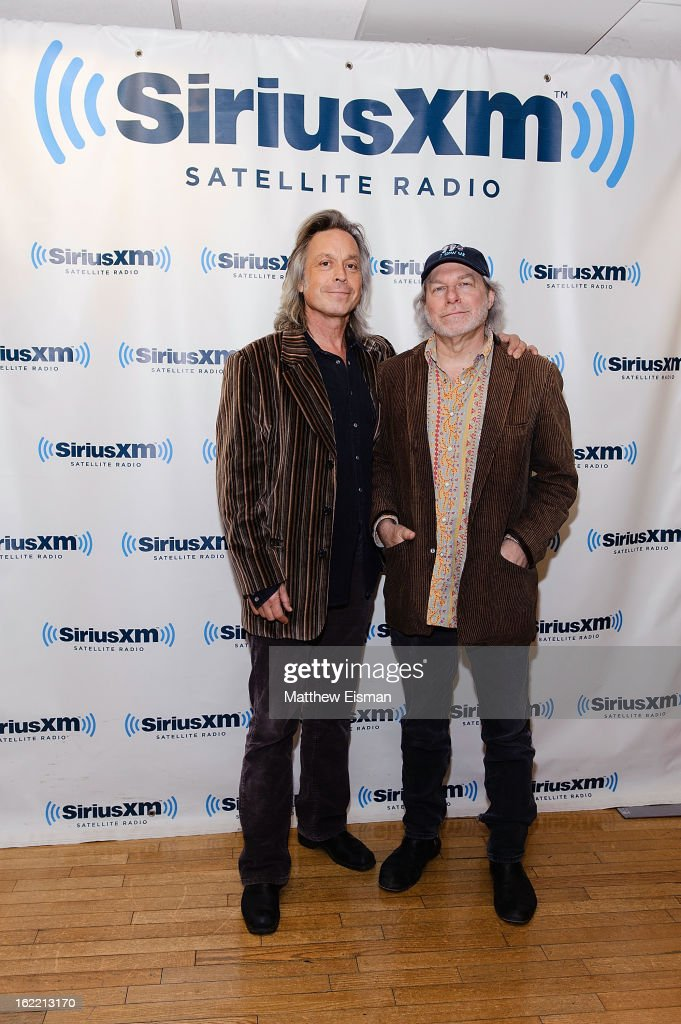 Jim Lauderdale (L) and Buddy Miller, hosts of 'The Buddy & Jim Show' on Outlaw Country, in the SiriusXM Studios on February 20, 2013 in New York City.
