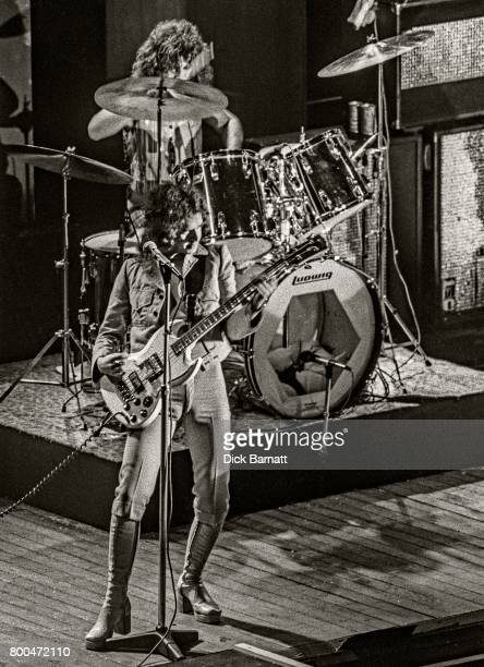 Jim Lea and Don Powell of Slade performing on stage Hammersmith Odeon London 17th May 1974