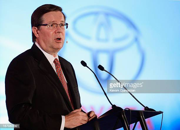 Jim Lentz President and CEO Toyota Motor Sales USA delivers a keynote speech during the Los Angeles Auto show on November 28 2012 in Los Angeles...