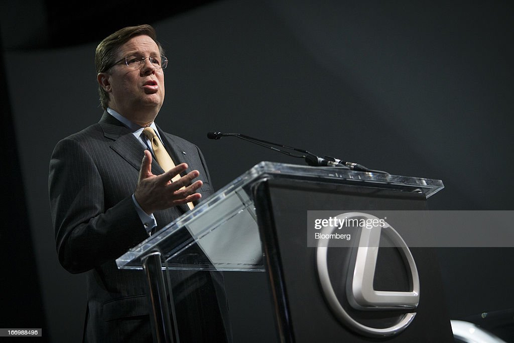 Jim Lentz, president and chief operating officer of Toyota Motor Corp.'s U.S. sales unit, speaks during a news conference in New York, U.S., on Friday, April 19, 2013. Toyota Motor Corp. plans to build Lexus ES 350 sedans in Kentucky, the first U.S. production for its luxury brand, as Chief Executive Officer Akio Toyoda pushes to localize output in the automaker's biggest markets. Photographer: Scott Eells/Bloomberg via Getty Images
