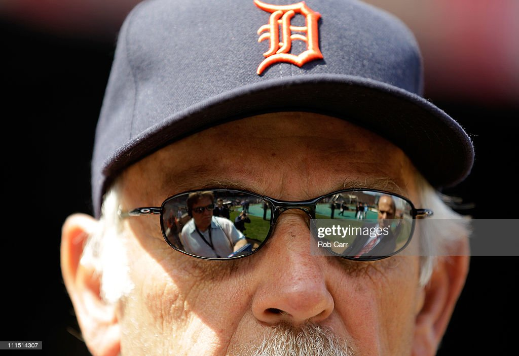 Jim Leyland manager of the Detroit Tigers talks with the media before opening day against the Baltimore Orioles at Oriole Park at Camden Yards on April 4, 2011 in Baltimore, Maryland.