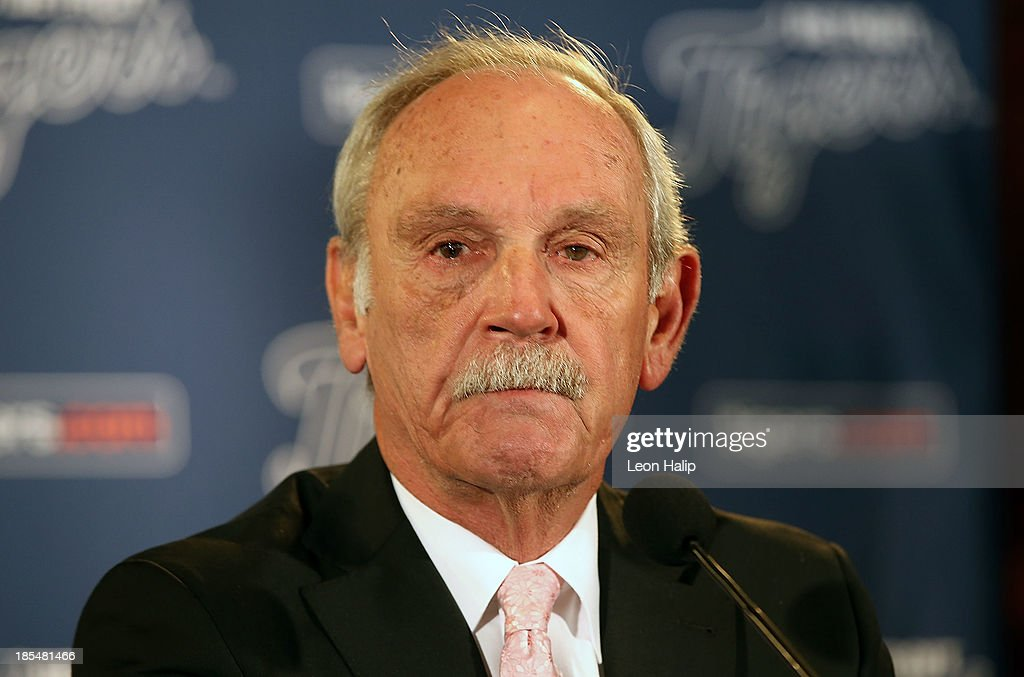 Jim Leyland speaks during a press conference to announce his retirement as manager of the Detroit Tigers at Comerica Park on October 21, 2013 in Detroit, Michigan.