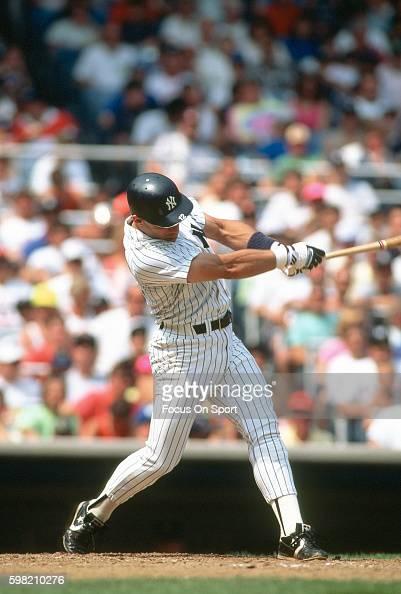 Jim Leyritz of the New York Yankees bats during an Major League Baseball game circa 1990 at Yankee Stadium in the Bronx borough of New York City...