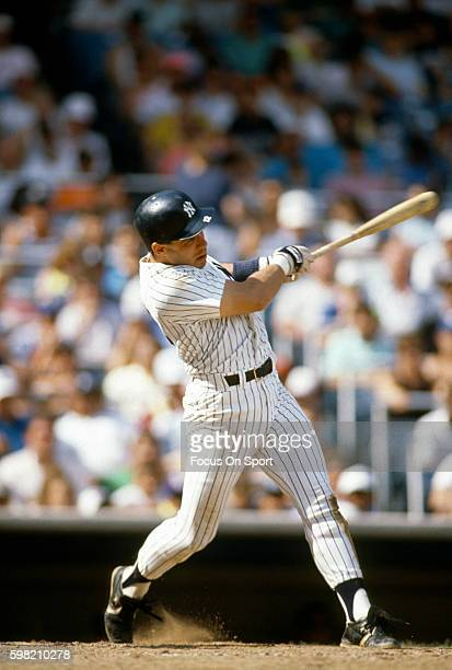 Jim Leyritz of the New York Yankees bats during an Major League Baseball game circa 1990 at Yankee Stadium in the Bronx borough of New York City...