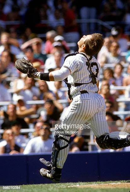 Jim Leyritz of the New York Yankees in action during an Major League Baseball game circa 1994 at Yankee Stadium in the Bronx borough of New York City...