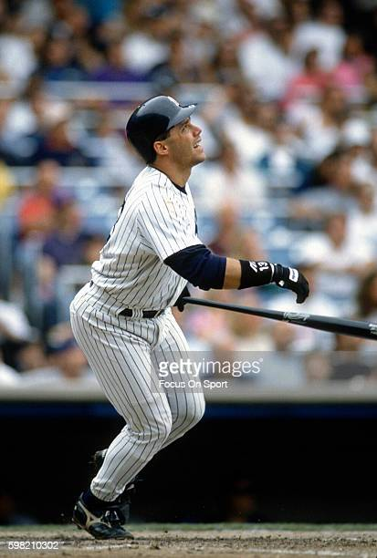 Jim Leyritz of the New York Yankees in bats during an Major League Baseball game circa 1995 at Yankee Stadium in the Bronx borough of New York City...