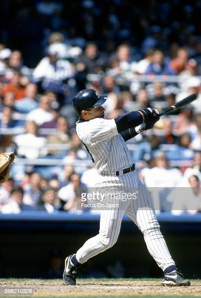 Jim Leyritz of the New York Yankees in bats during an Major League Baseball game circa 1996 at Yankee Stadium in the Bronx borough of New York City...