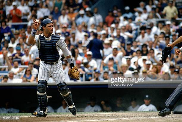 Jim Leyritz of the New York Yankees in in action during an Major League Baseball game circa 1995 at Yankee Stadium in the Bronx borough of New York...