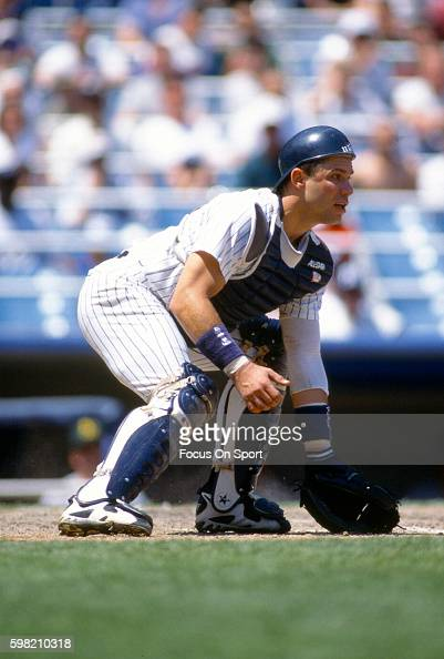 Jim Leyritz of the New York Yankees in in action during an Major League Baseball game circa 1996 at Yankee Stadium in the Bronx borough of New York...