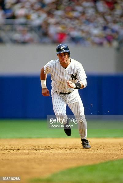Jim Leyritz of the New York Yankees runs the bases during an Major League Baseball game circa 1993 at Yankee Stadium in the Bronx borough of New York...