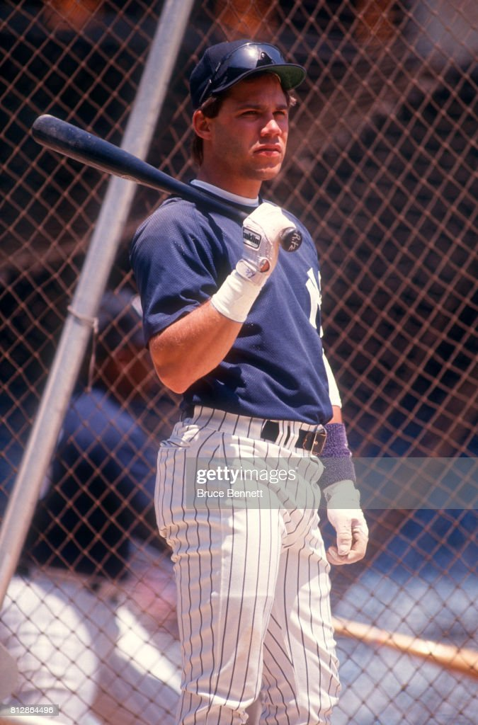 Jim Leyritz #12 of the New York Yankees waits his turn to hit in the batting cage before an MLB game against the Milwaukee Brewers on May 23, 1992 at Yankee Stadium in the Bronx, New York.