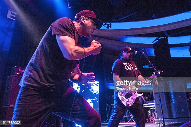 Jim Lindberg and Fletcher Dragge of Pennywise perform at Hollywood Palladium on March 10 2016 in Los Angeles California