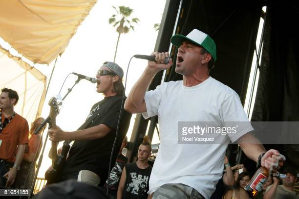 Jim Lindberg and Randy Bradbury of Pennywise perform at the Vans Warped Tour at the Pomona Fairgrounds on June 20 2008 in Pomona California