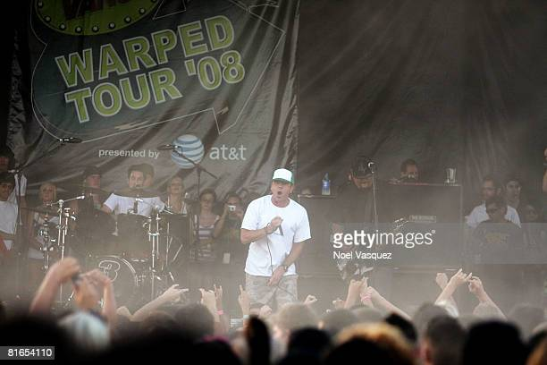 Jim Lindberg of Pennywise performs at the Vans Warped Tour at the Pomona Fairgrounds on June 20 2008 in Pomona California