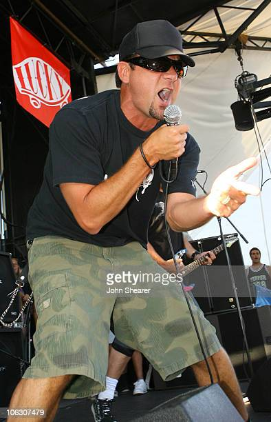 Jim Lindberg of Pennywise performs on stage during opening day of the Vans Warped Tour 2007 at the Fairplex in Pomona California on June 29 2007