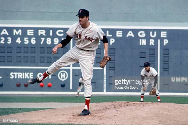 Jim Lonborg of the Boston Red Sox pitches against the St Louis Cardinals during the World Series at Fenway Park on October 1967 in Boston...