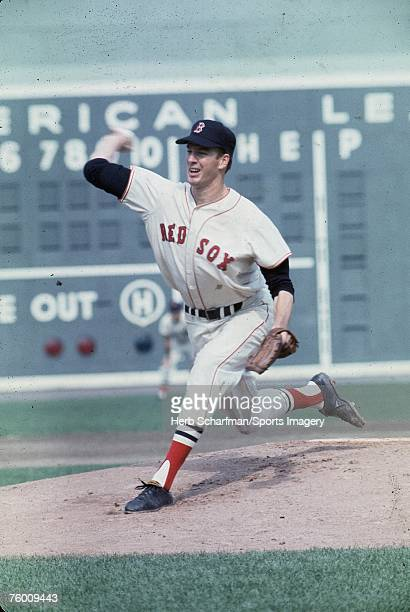Jim Lonborg of the Boston Red Sox pitching to the St Louis Cardinals in Game 2 of the 1967 World Series in Fenway Park on October 5 1967 in Boston...