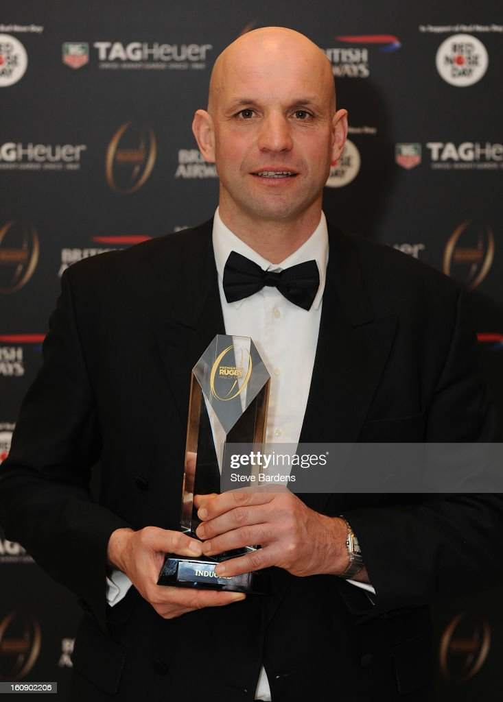 Jim Mallinder is inducted into the Hall of Fame during the inaugural Premiership Rugby Hall of Fame Ball at the Hurlingham Club on February 7, 2013 in London, England.
