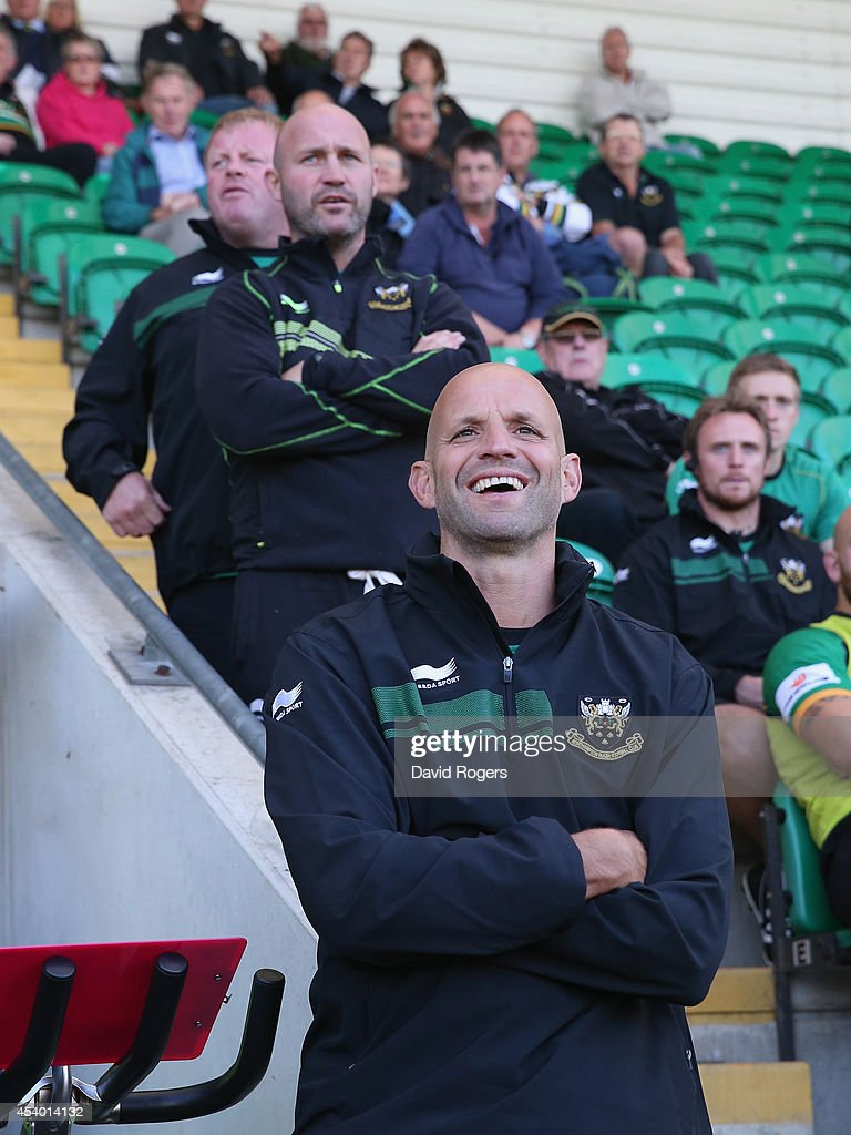 <a gi-track='captionPersonalityLinkClicked' href=/galleries/search?phrase=Jim+Mallinder&family=editorial&specificpeople=747109 ng-click='$event.stopPropagation()'>Jim Mallinder</a>, the Northampton director of rugby looks on during the pre season friendly match between Northampton Saints and Moseley at Franklin's Gardens on August 23, 2014 in Northampton, England.