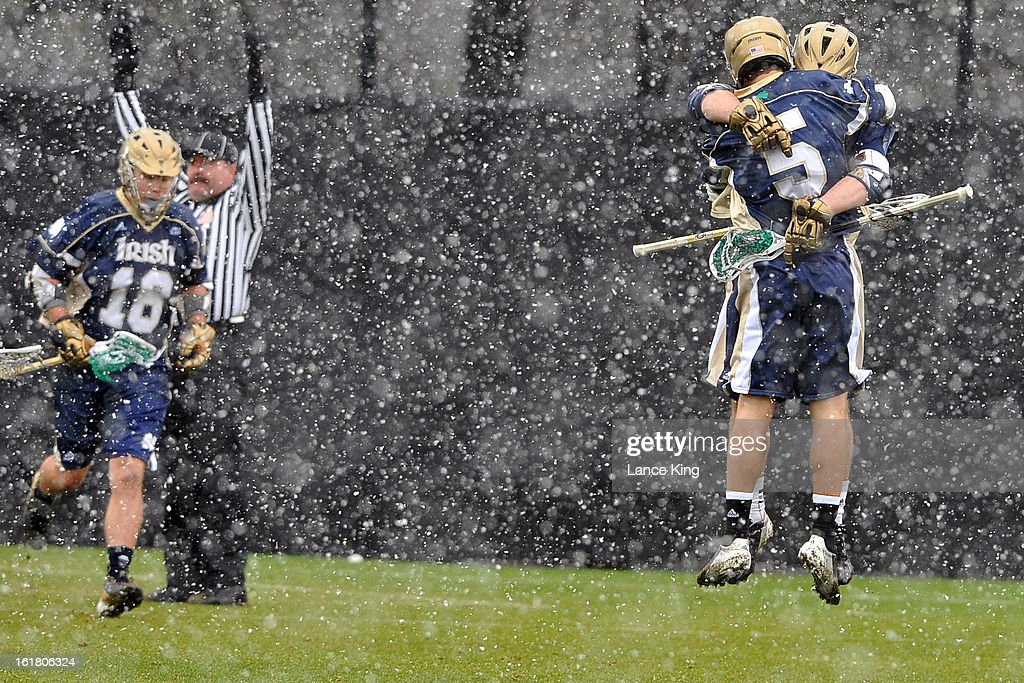 Jim Marlatt #5 of the Notre Dame Fighting Irish celebrates following a goal against the Duke Blue Devils at Koskinen Stadium on February 16, 2013 in Durham, North Carolina. Notre Dame defeated Duke 13-5.