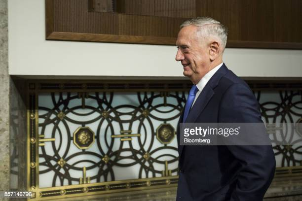 Jim Mattis US secretary of defense leaves after testifying during a Senate Armed Forces Committee hearing in Washington DC US on Tuesday Oct 3 2017...