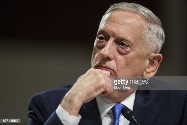 Jim Mattis US secretary of defense testifies during a Senate Armed Forces Committee hearing in Washington DC US on Tuesday Oct 3 2017 As the US...
