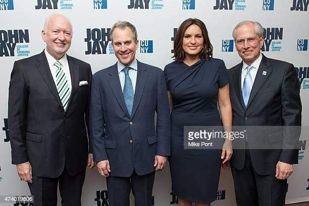 Jim McCann New York State Attorney General Eric Schneiderman Actress Mariska Hargitay and President of John Jay College Jeremy Travis attend the John...