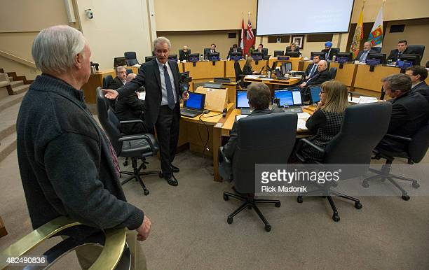 BRAMPTON JANUARY 29 Jim McCarter addresses a member of the public who asked a question during the meeting Brampton Council held a special meeting on...