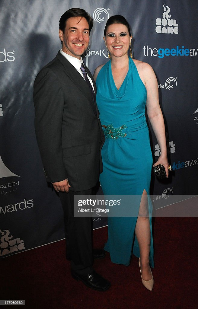 Jim McMahon and Stephanie Thorpe attend The 1st Annual Geekie Awards - Arrivals held at Avalon on August 18, 2013 in Hollywood, California.