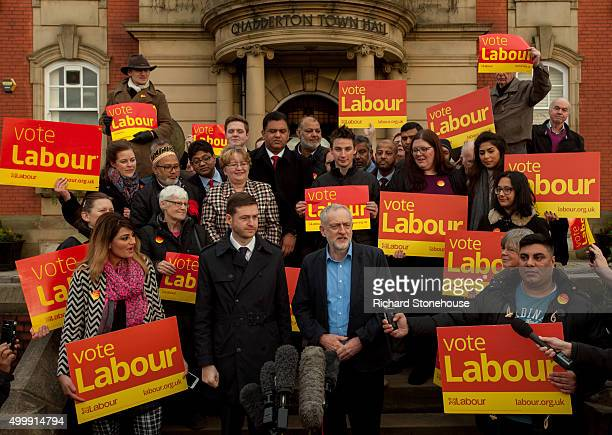Jim McMahon MP stands with Labour Party Leader Jeremy Corbyn outside the Chadderton Town Hall after winning the Oldham West and Royton byelection on...